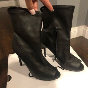 Black Leather Sock Ankle Boots